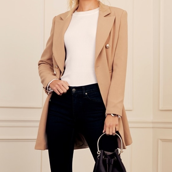 Lulu's Jackets & Blazers - Tan Double-Breasted Coat